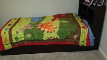 Children's bed with storage headboard. Mattress and sheets not include
