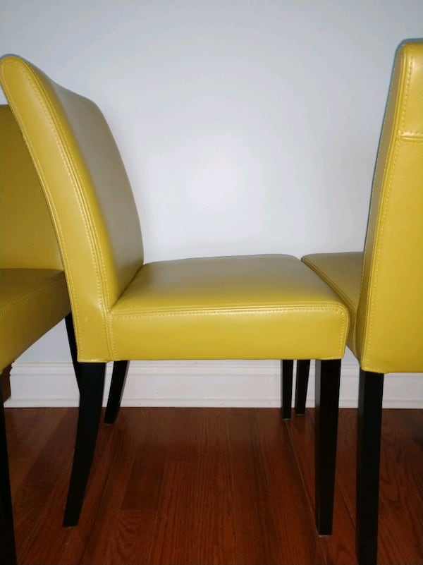 4 mustard yellow leather dining chairs fb1f1f24-ed42-41c4-ad7c-c2802890d35a