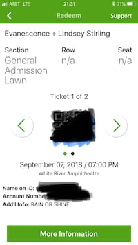 2x Evanescence and Lindsey Sterling Tickets for 9/7 @ White River Amphitheatre  Gig Harbor, 98332