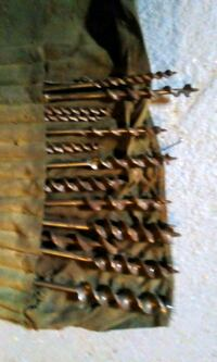 Wood drill bits. 13 in total and longest is 9 and 3/4 inches