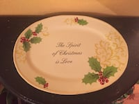 Oblong white, green, and red christmas-themed decorative platter