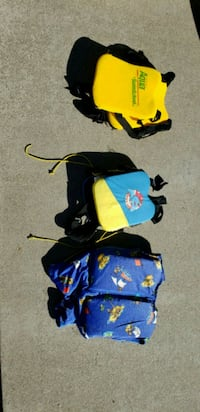 three blue, yellow, and black backpacks Sacramento, 95838