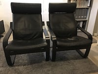 two black leather padded armchairs Vancouver, V6M 2L1