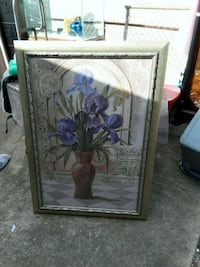 brown wooden framed painting of purple flowers South Houston, 77587