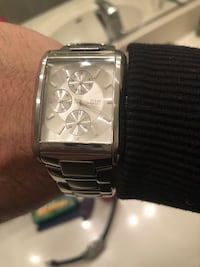 square silver chronograph watch with silver link bracelet Livingston, 95334