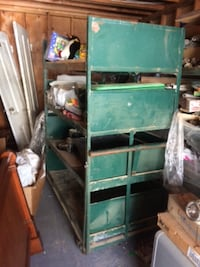 green metal tool cabinet very handy rollabout  OAKLAND