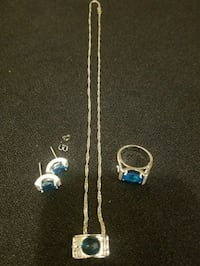 Blue and Clear CZ Sterling Silver Set Milford Mill, 21244