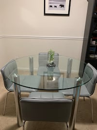 Metal Glass table Modern Reston, 20194