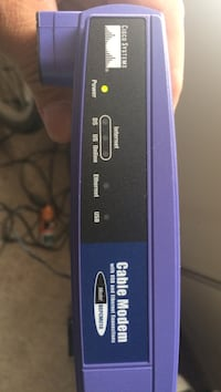Purple and blue cable modem
