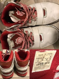 Pair of white-and-red basketball shoes collage