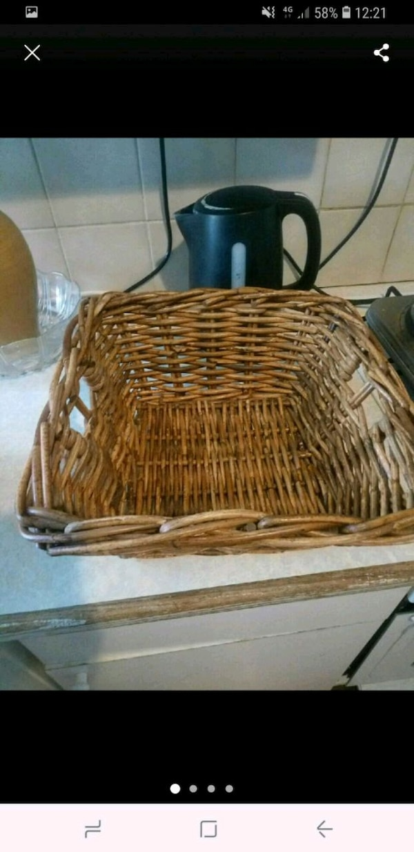 brown wicker basket with lid