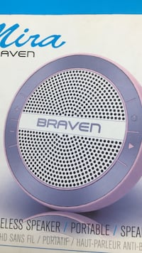 purple and pink Braven speaker box 1263 mi