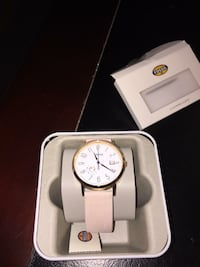 round white chronograph watch with white leather strap Kitchener