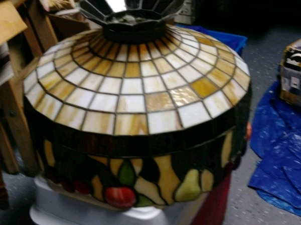 black, white, and yellow stained glass table lamp