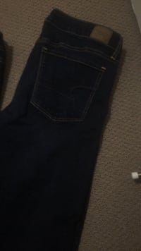2 American eagle medium jeans ones stretchier and two buffalo jeans army green and purple  Edmonton, T5P 3E7