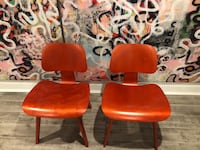 Pair of Eames Molded Plywood Lounge Chairs, Red New Rochelle, 10805