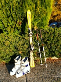 120 cm skies with poles and adjustable ski boots Penticton, V2A 6A6