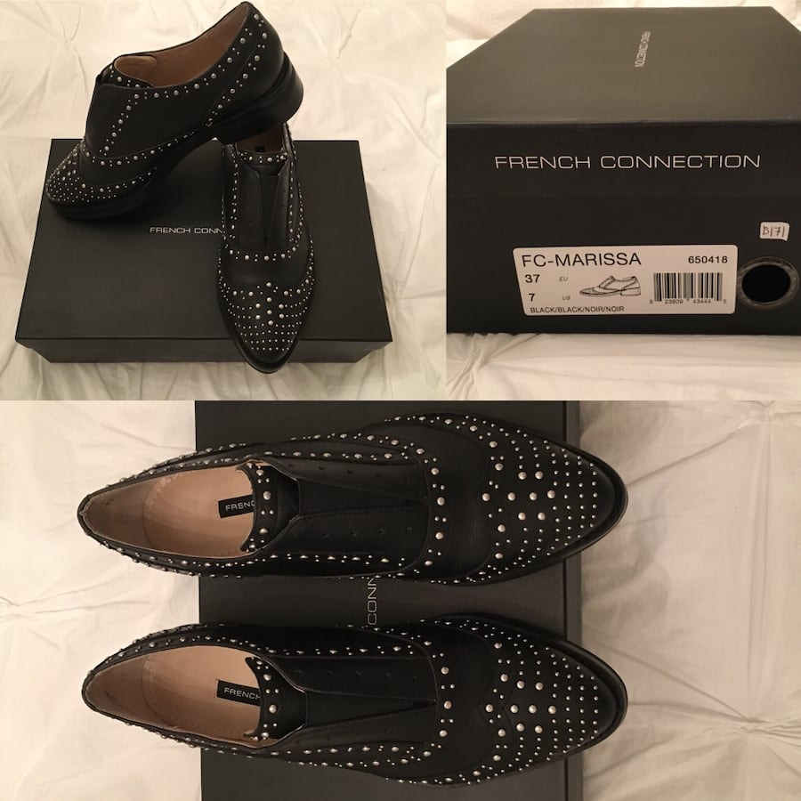 Marissa black leather slip on brogues - women's shoes as seen on Happily Grey fashion blog