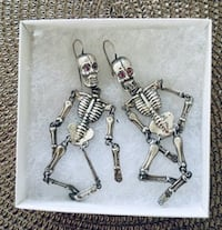 Valentine's Day! Real Silver Skeleton Skull Earrings with Ruby Eyes  Santa Monica