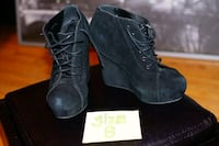 pair of black suede chunky heeled boots Edmonton, T6E 5G8