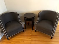 2 arm chairs end table dining room table 6 chairs tv stand asking $200 for everything the stuff is used and a little nicked up please call  [PHONE NUMBER HIDDEN]  thanks  Toronto, M2K 1B7