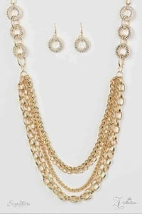 gold chain necklace and earrings set