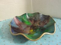 Vintage Seetusee Color Glass Dish with Leather Backing Winnipeg