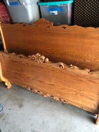 Solid Oak sleigh bed-queen size Covina