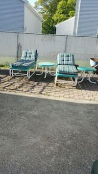 Lounge Chairs with Cushions, and 2 Tables