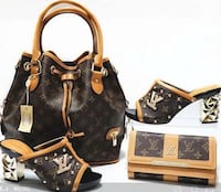 brown leather Louis Vuitton bags and sandals