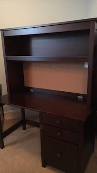 Brown wooden single pedestal desk with hutch(price negotiable) Bellevue, 98004