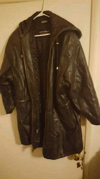 Vintage Wilson's Leather Hooded Coat Canton