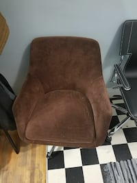 brown suede armchair