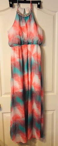 Orange and Teal sleeveless dress Phenix City