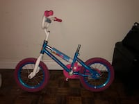 blue and white BMX bike