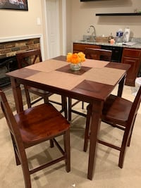 rectangular brown wooden table with four chairs dining set 42 km