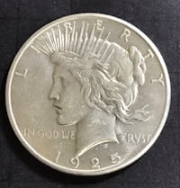 1925-P Silver Peace Dollar. AU Redding, 96002