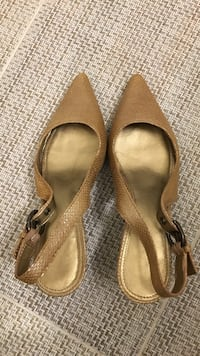 brown leather pointed-toe slingback pumps size 5.5 M