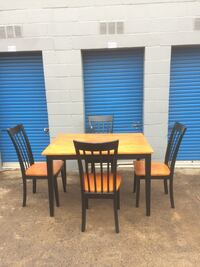 rectangular brown wooden table with four chairs dining set 37 km
