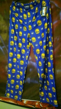 blue and yellow Golden State Warriors pant