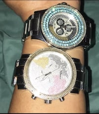Big face watch with diamond rim needs batteries pick up only Huntington Station, 11746