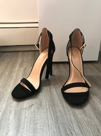 pair of black leather open-toe ankle strap heels Saskatoon, S7L 6W7