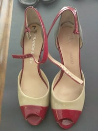 Franco Sarto size 7M red and tan open-toe heels West Palm Beach, 33403
