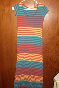 pink, blue, and green stripe sleeveless dress Abbeville