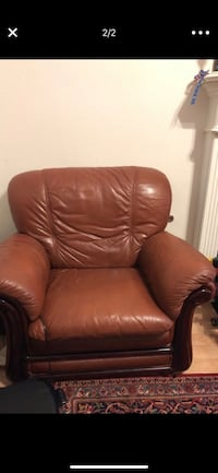 brown leather padded sofa chair Flower Mound, 75028
