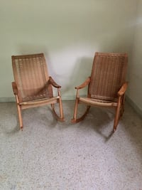 Hans Wagner style Woven Rope Rocking Chairs (Set of 2)