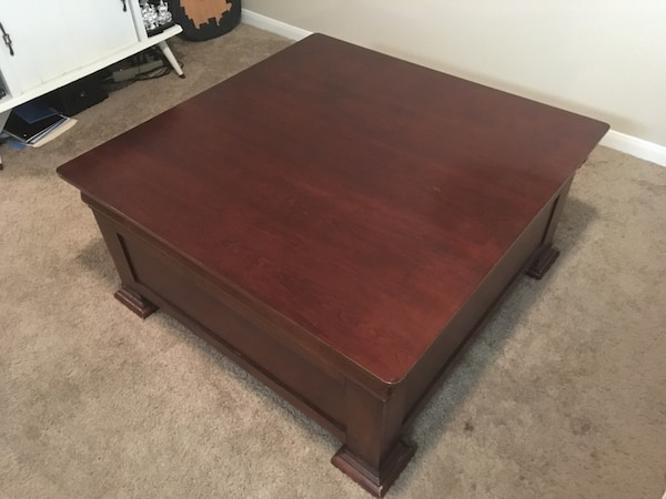 Wood Coffee Table On Rollers With Drawers
