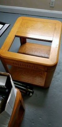 brown wooden framed glass top side table Baltimore, 21223