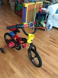 children's black and red bicycle with training wheels Chicago, 60616