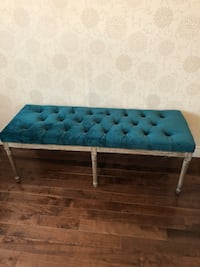 Tufted teal wooden bench Toronto, M2N 0G1